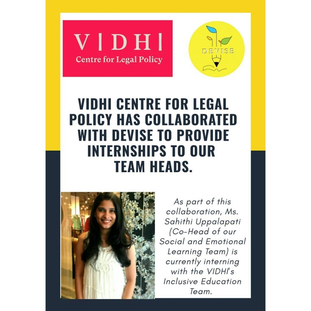 Poster with the logo of VIDHI and DEVISE and information about the collaboration and the role of the Ms. Sahithi Uppalapti as coordinator.